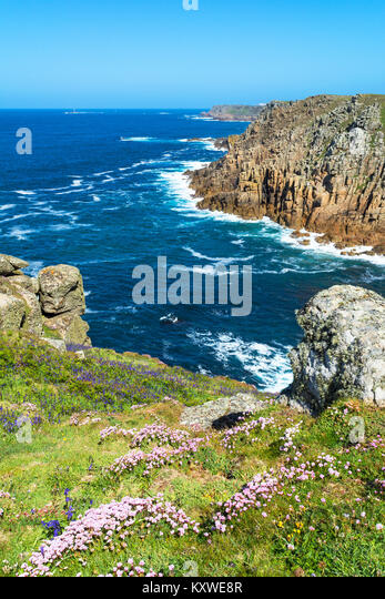 looking towards lands end from gwennap head in cornwall, england, britain, uk. - Stock Image