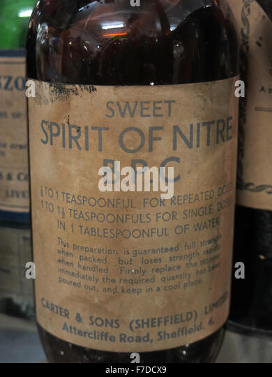 Brown Sweet Spirit Of Nitre BPC bottle - Stock Image