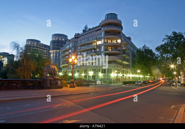 Berlin Moabit modern office builidings near ministry of interior Moabit bridge over river spree - Stock Image
