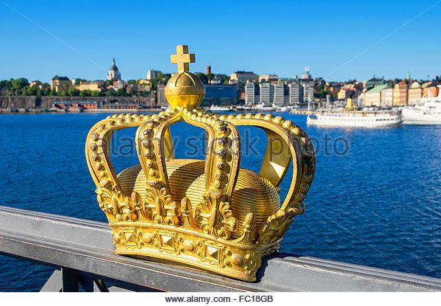 Golden crown. Stockholm, Sweden - Stock Image