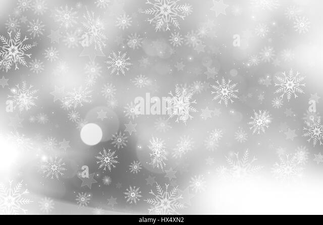 Silver Christmas background with snowflakes and stars design - Stock Image