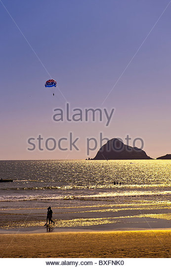 Beach at the Playa Mazatlan Hotel, Mazatlan, Sinaloa, Mexico - Stock Image