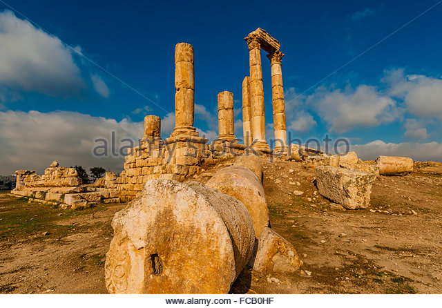 Temple of Hercules, archaeological ruins, Amman Citadel, Amman, Jordan - Stock Image
