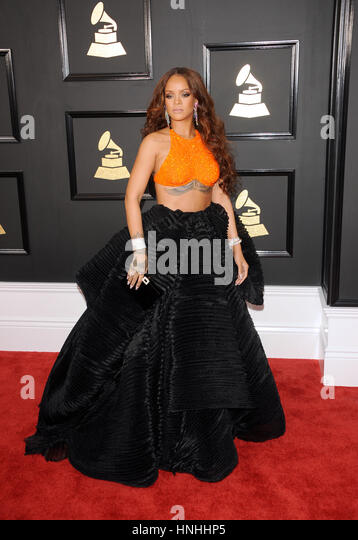 Los Angeles, USA. 12th February 2017. Rihanna at the 59th GRAMMY Awards held at the Staples Center in Los Angeles, - Stock Image
