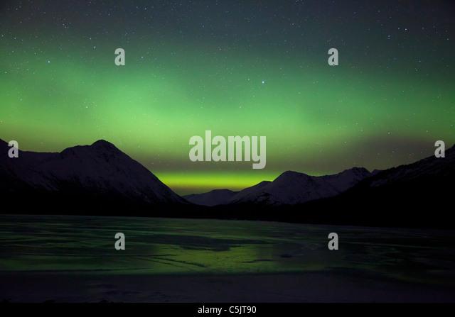 Northern Lights over Upper Trail Lake, Alaska. - Stock Image