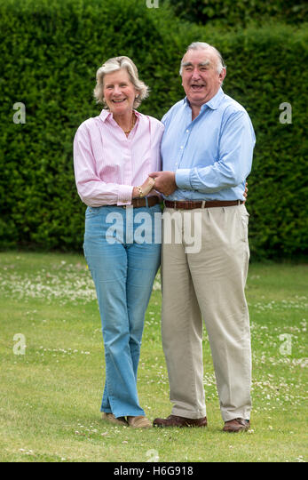 The Right Honourable Michael Mates, with his wife Christine, at home in West Marden, near Chichester, West Sussex. - Stock Image