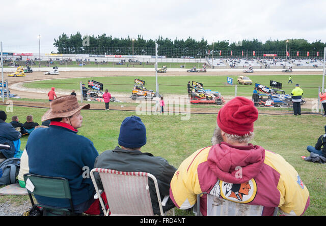 Stockcar racing at Woodford Glen Speedway, Kaiapoi, Christchurch, Canterbury Region, South Island, New Zealand - Stock Image