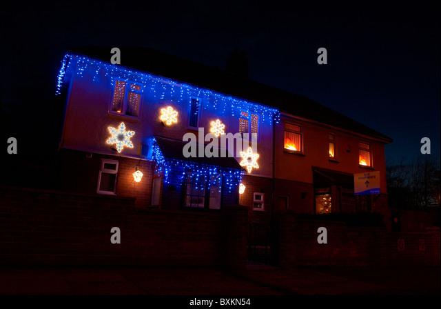 Christmas lights house exterior uk stock photos christmas lights house exterior uk stock for Christmas lights for house exterior