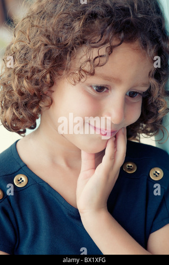 Thoughtful girl standing outside Beirut Lebanon Middle East Asia - Stock Image