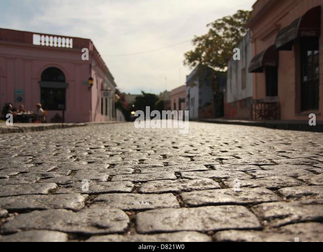 The cobbled stone streets of Colonia de Sacremento, Uruguay. - Stock Image