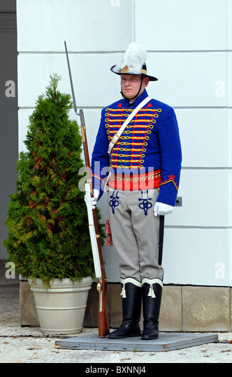 Guard at the Presidential Palace, Bratislava, Slovakia, Europe - Stock Image
