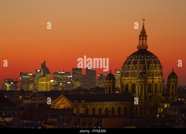 View of Paris at sunset with the church of Saint Augustin and La Defense  Paris France - Stock Image