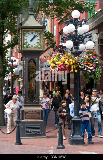 The Gastown Steam Clock located in Vancouver British Columbia Canada - Stock Image