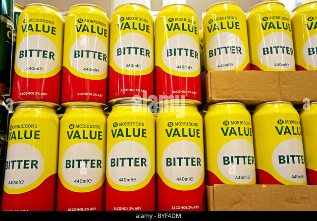Cheap cans of lager  Cheap cans of beer in a Morrisons supermarket, Uk - Stock Image