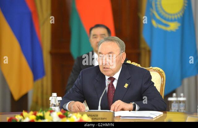 Astana, Kazakstan. 31st May, 2016. Kazakhstan President Nursultan Nazarbayev during the Eurasian Economic Union - Stock Image
