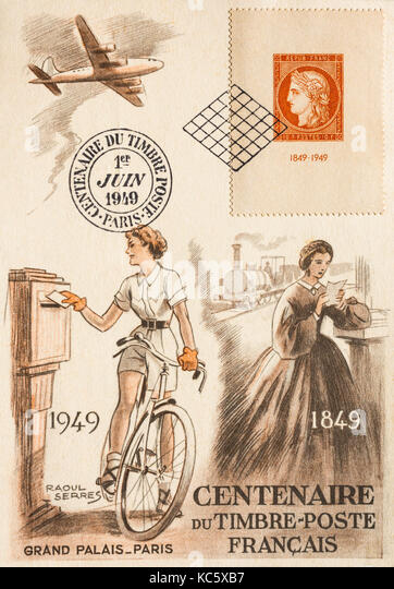 Illustrated postcard celebrating 100-year anniversary of French postage stamps. - Stock Image