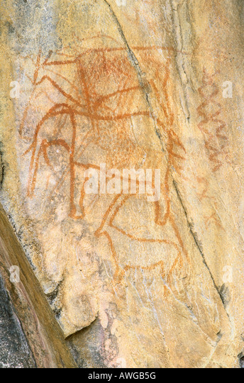 San rock paintings 2000 bC of Eland African Elephant and Oryx or Gemsbok in Tsonxhwaa Hill Savuti Chobe National - Stock Image