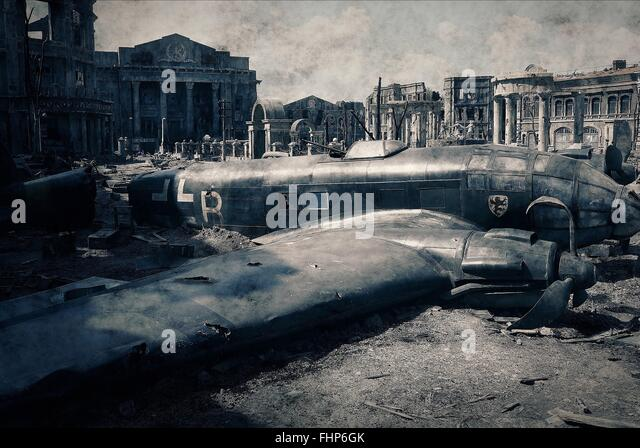 SCENE WITH CRASHED AIRCRAFT STALINGRAD (2013) - Stock Image