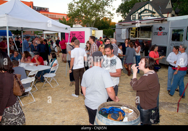 Food truck rally in Boise, Idaho, USA. - Stock Image