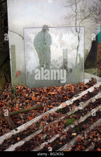 Corrugated roof with reflection in broken glass - Torphins - Aberdeenshire - Scotland - UK - Stock Image