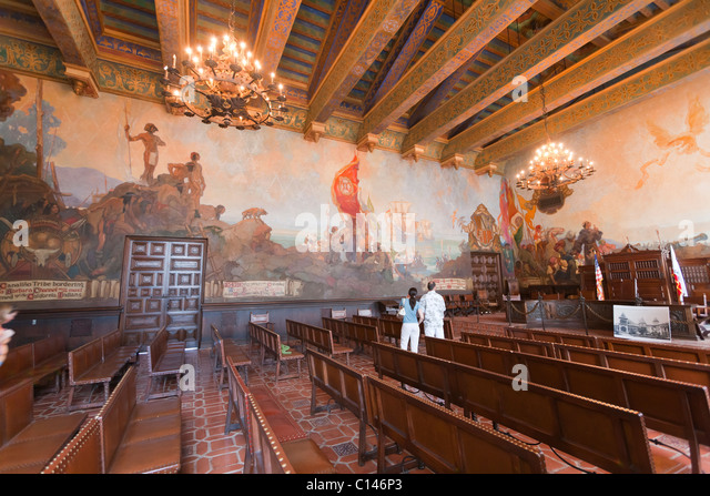 California history stock photos california history stock images alamy for Mural room santa barbara