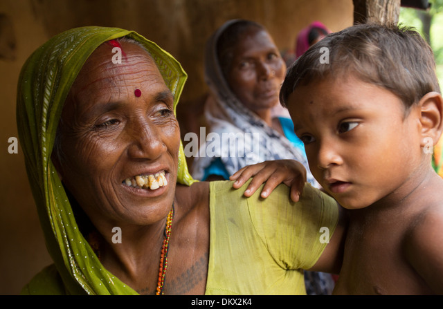 Grandmother with her grandson in Bihar State, India. - Stock Image