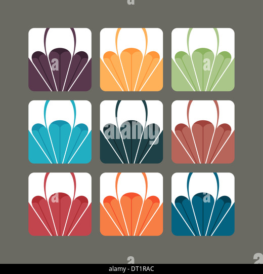 Set of paragliding vectors in colour variants - Stock Image