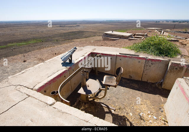 Remains of the yom kippur war on hill 'tel e-saki' close to the Syrian border on the Golan Heights - Stock Image