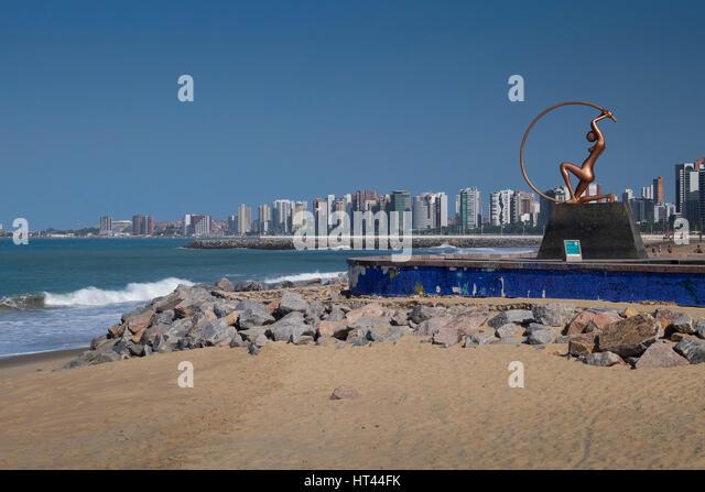 Irecema Virtual Statue on Praia de Iracema Beach, Fortaleza, State of Ceara, Brazil, South America - Stock Image