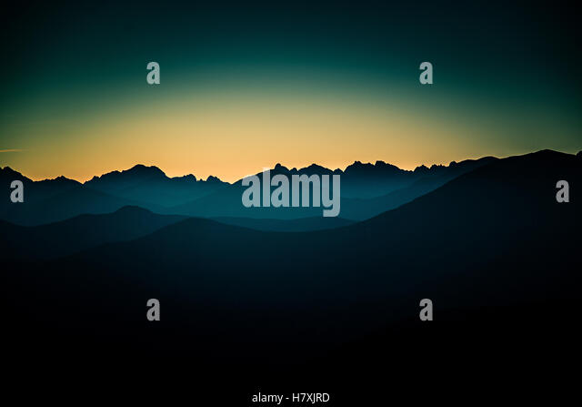 A beautiful perspective view above mountains with a gradient - Stock Image