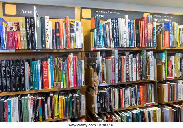 Portugal Lisbon Belem Centro Cultural de Belem cultural center arts complex Bertrand bookstore bookshop books shelves - Stock Image