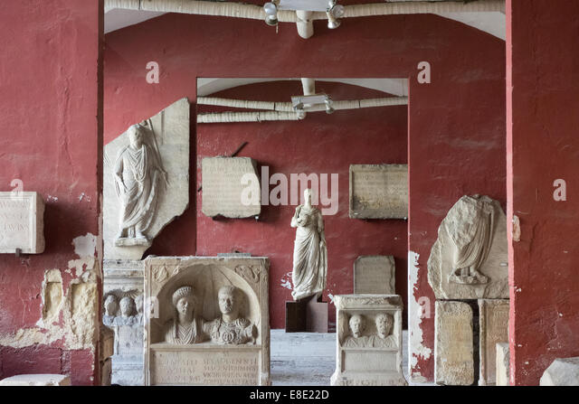 relics from ancient Rome are displayed in the Museum of Archaeology; Nimes; Gard; France - Stock Image