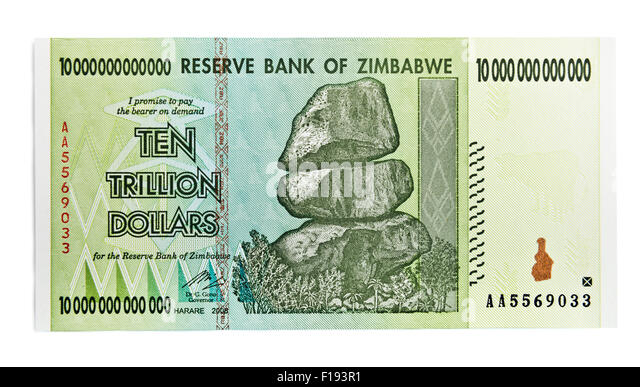 Zimbabwe ten trillion dollars bill - hyper inflation concept. (This banknote not used in present days) - Stock Image