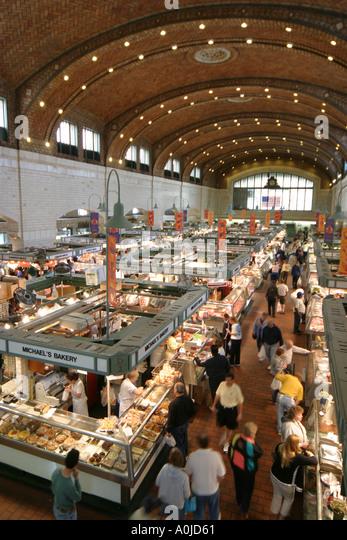 Cleveland Ohio Westside Market produce food meats shopping - Stock Image