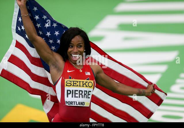 March 19, 2016 - BARBARA PIERRE celebrates winning the 60m finals at the 2016 IAAF World Indoor Track & Field - Stock-Bilder