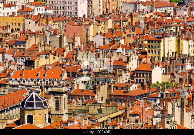 Old town Vieux Lyon from Fourvière Hill, France (UNESCO World Heritage Site) - Stock Image