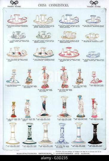 China Candlesticks in a range of styles, Plate 66.      Date: circa 1880s - Stock-Bilder