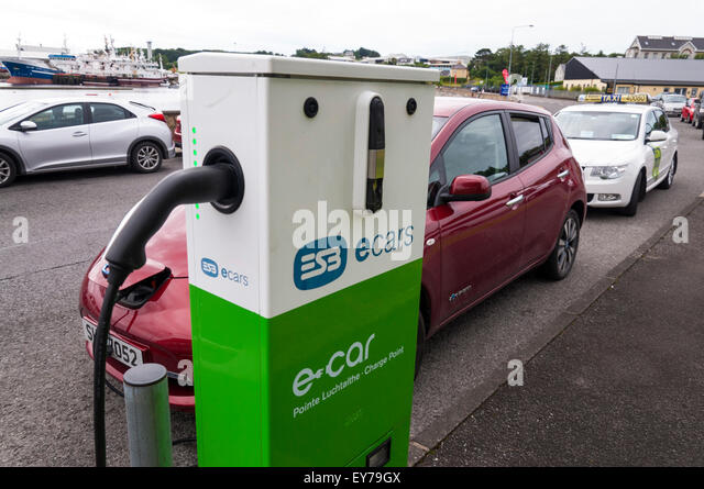 ESB e cars ecars charge point in Killybegs, County Donegal, Ireland - Stock Image