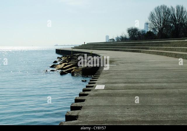 Shore of Lake Michigan, Lake View Chicago - Stock Image
