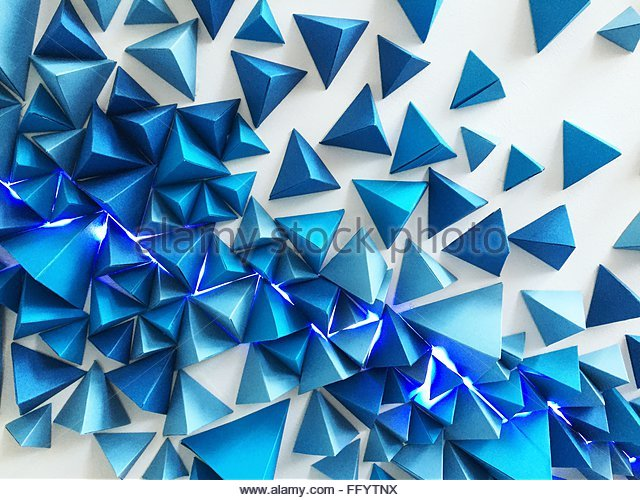 Abstract Image Of Blue Spike Ceiling - Stock Image