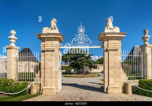 Chateau Beychevelle, vineyards in Medoc, Bordeaux, Gironde, Aquitaine, France, Europe, - Stock Image