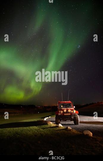 Aurora Borealis or Northern Lights, Heidmork, Reykjavik Iceland - Stock Image