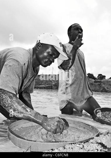 Diamond mining in Kono, Sierra Leone - Stock Image