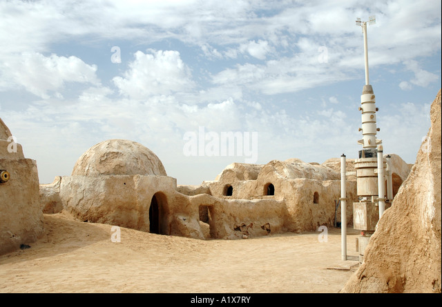 Remains of George Lucas Star Wars movie set on Sahara desert in Tunisia - Stock Image