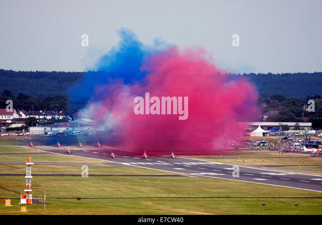 Red Arrows Royal Air Force Aerobatic Team getting ready for display during Farnborough International Airshow 2014 - Stock Image