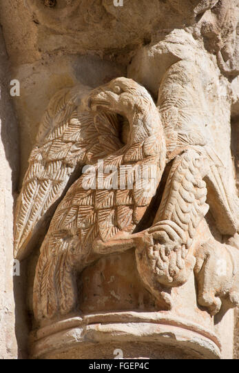carved bird cemetery Navarrete La Rioja Spain - Stock Image