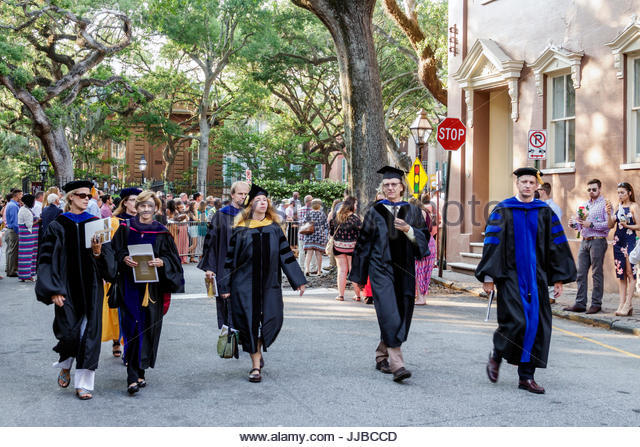 South Carolina Charleston SC College of Charleston university graduation ceremony commencement student crowd graduate - Stock Image
