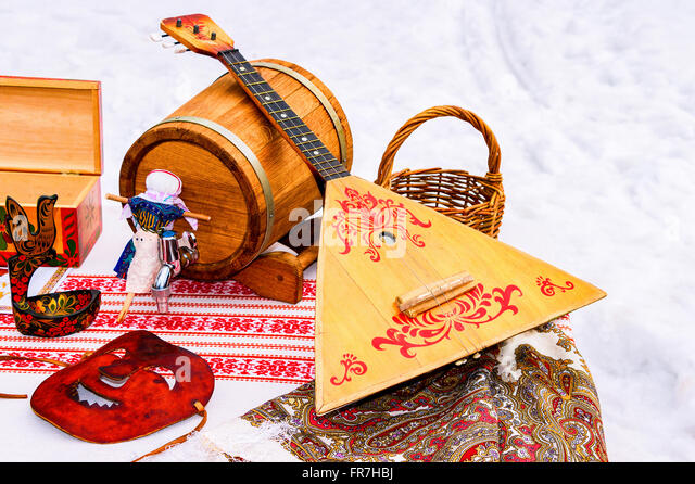 Balalaika and other products of Russian folk art - Stock Image