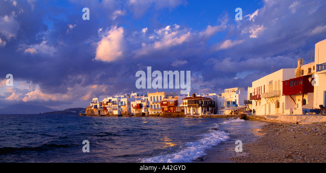 Greece cyclades island little venice beach sunset - Stock Image