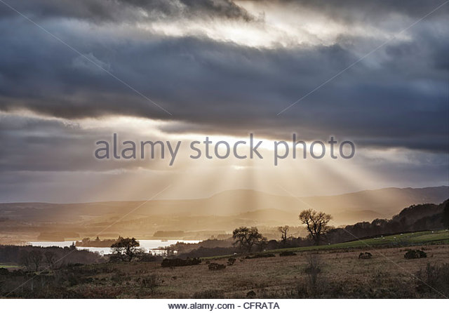 Sunburst over Lake of Menteith, Stirling District, Scotland, UK - Stock-Bilder